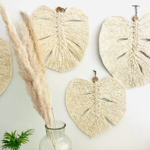 macrame monster leaf wall hanging
